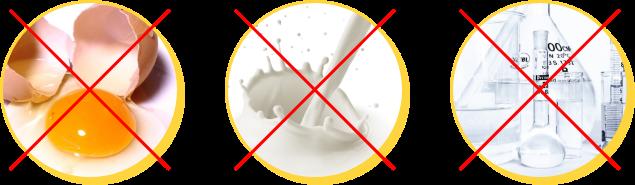 卵、乳製品、保存料、防腐剤※、未使用